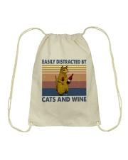 Cats And Wine Drawstring Bag thumbnail