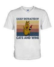 Cats And Wine V-Neck T-Shirt thumbnail