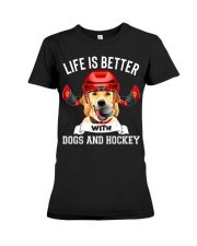 Dogs And Hockey Premium Fit Ladies Tee thumbnail
