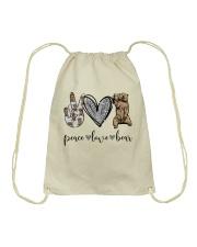 Peace Love Beer Drawstring Bag thumbnail