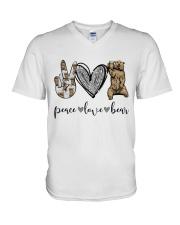 Peace Love Beer V-Neck T-Shirt thumbnail