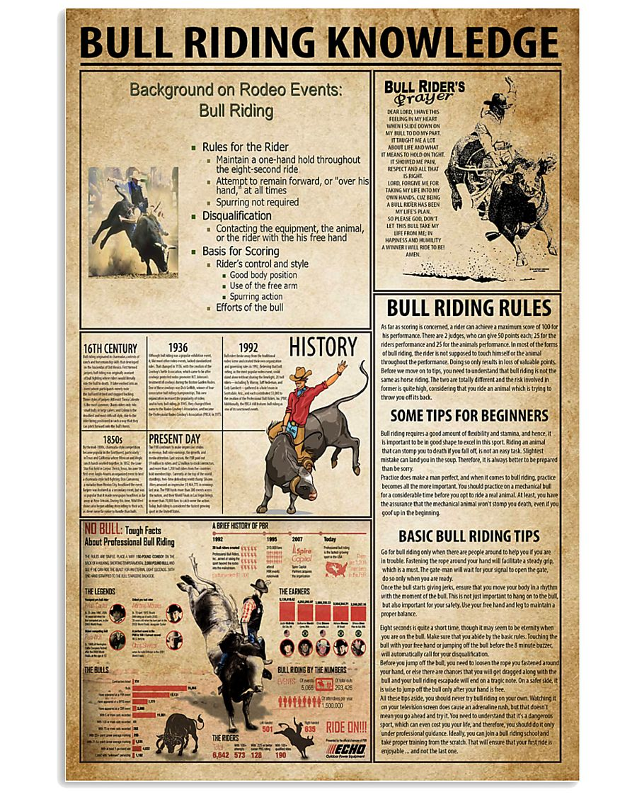 Bull Riding Knowledge 11x17 Poster