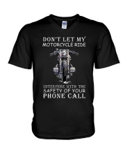 Dont Let My Motorcycle Ride V-Neck T-Shirt thumbnail