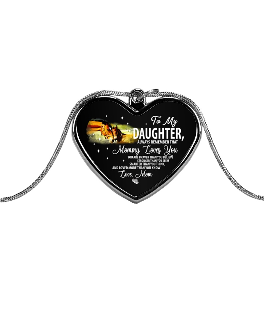 To My Daughter Metallic Heart Necklace