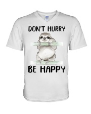 Dont Hurry Be Happy V-Neck T-Shirt tile