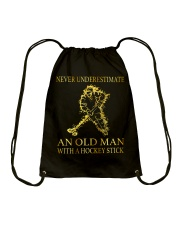 An Old Man With A Hockey Stick Drawstring Bag thumbnail