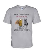 Yorkshire Terriers Dog V-Neck T-Shirt thumbnail