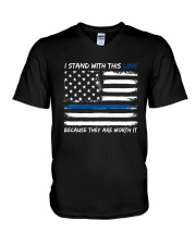 I Stand With This Line V-Neck T-Shirt thumbnail