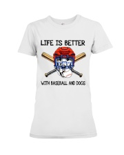 Baseball And Dogs Premium Fit Ladies Tee thumbnail