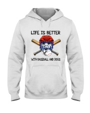 Baseball And Dogs Hooded Sweatshirt thumbnail