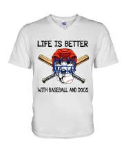 Baseball And Dogs V-Neck T-Shirt thumbnail