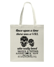 Girl Love Skulls And Tattoos Tote Bag thumbnail