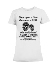 Girl Love Skulls And Tattoos Premium Fit Ladies Tee thumbnail