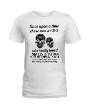 Girl Love Skulls And Tattoos Ladies T-Shirt thumbnail