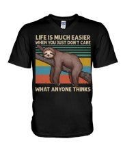 Life Is Much Easier V-Neck T-Shirt thumbnail
