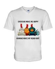Chickens Make Me Happy V-Neck T-Shirt thumbnail