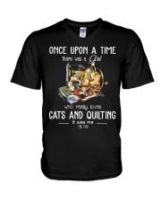 Cats And Quilting V-Neck T-Shirt thumbnail