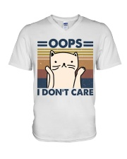 Oops I Don't Care V-Neck T-Shirt thumbnail