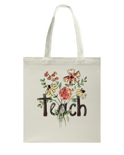 Teach Peace Flowers Tote Bag tile