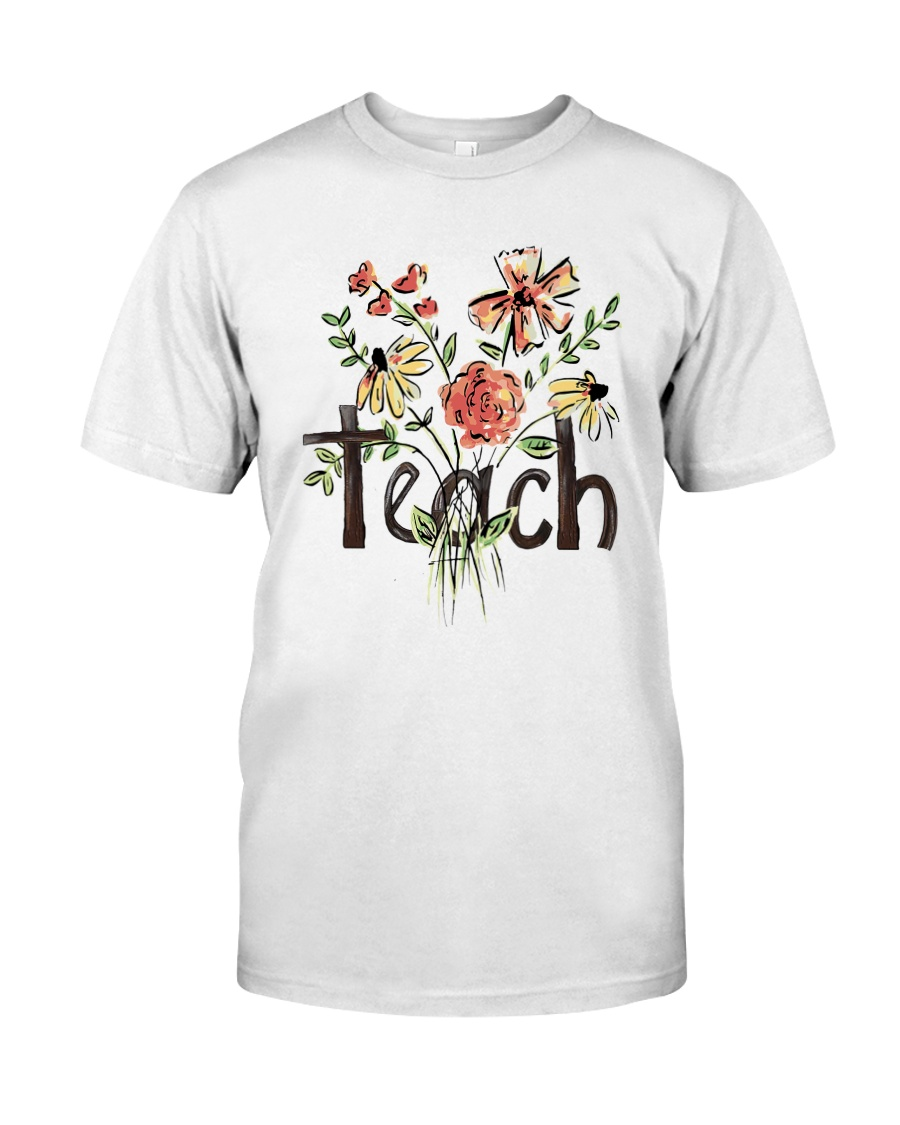 Teach Peace Flowers Classic T-Shirt