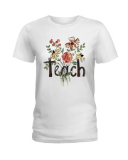 Teach Peace Flowers Ladies T-Shirt tile