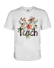 Teach Peace Flowers V-Neck T-Shirt tile