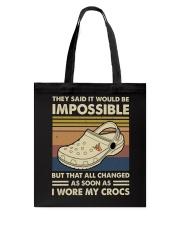 I Wore My Crocs Tote Bag thumbnail