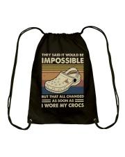I Wore My Crocs Drawstring Bag thumbnail