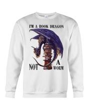 I'm A Bookd Dragon Not A Worm Crewneck Sweatshirt thumbnail
