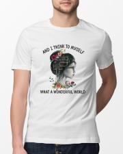 Myself What A Wonderful World Classic T-Shirt lifestyle-mens-crewneck-front-13