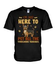 Yorkshire Terriers V-Neck T-Shirt thumbnail