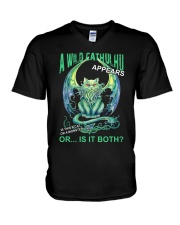 A Wild Cathulhu Appears V-Neck T-Shirt thumbnail