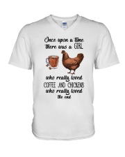 Coffe And Chickens V-Neck T-Shirt thumbnail