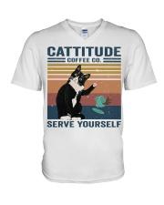 Cattitude Coffee Co V-Neck T-Shirt thumbnail