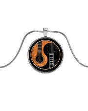 Love Guitar Metallic Circle Necklace front