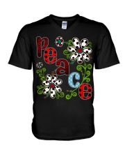 Peace Flowers V-Neck T-Shirt thumbnail