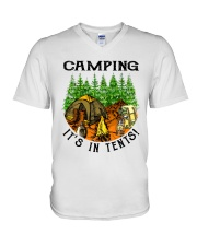 Camping It's In Tennis V-Neck T-Shirt thumbnail