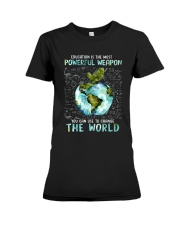 Education Is The Most Powerful Premium Fit Ladies Tee thumbnail
