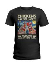 Chickens Make Me Happy Ladies T-Shirt thumbnail