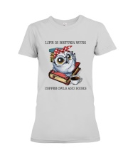 Coffee Owls And Books Premium Fit Ladies Tee thumbnail