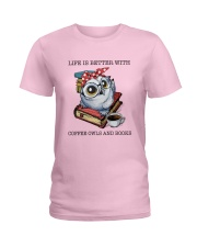 Coffee Owls And Books Ladies T-Shirt thumbnail