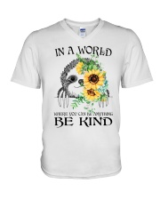 Be Kind Sunflower V-Neck T-Shirt tile