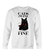 Cats And Wine Crewneck Sweatshirt thumbnail