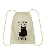 Cats And Wine Drawstring Bag thumbnail