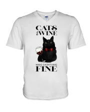 Cats And Wine V-Neck T-Shirt thumbnail