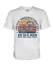 An Old Man With The Long Pipes V-Neck T-Shirt thumbnail