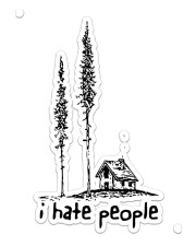I Hate People Sticker - Single (Vertical) front