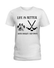 Hockey And Dogs Ladies T-Shirt thumbnail