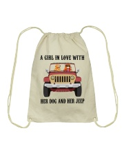 A Girl In Love With Her Dog Drawstring Bag thumbnail