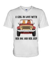 A Girl In Love With Her Dog V-Neck T-Shirt thumbnail